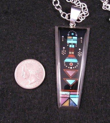 Jim Harrison Navajo Inlay Kachina Night Sky Pendant Necklace