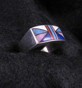 Image 1 of Jim Harrison Navajo Multigem Inlay Silver Ring sz12