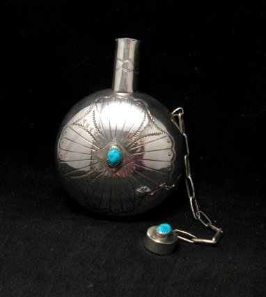 Native American Navajo Sterling Silver Turquoise Canteen