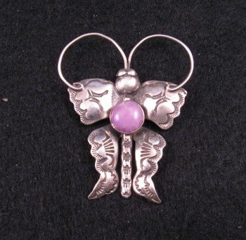 Joe Eby Purple Charoite Sterling Silver Butterfly Pin