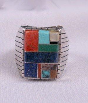 Ray Jack, Navajo, Multi-Stone Inlay Sterling Silver Ring, Sz13
