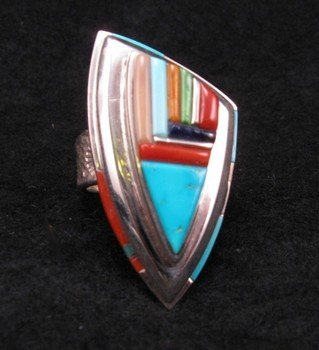 Image 0 of Navajo/Creek David Tune Cobblestone Inlay Ring sz11-12
