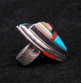 Image 1 of Navajo/Creek David Tune Cobblestone Inlay Ring sz11-12