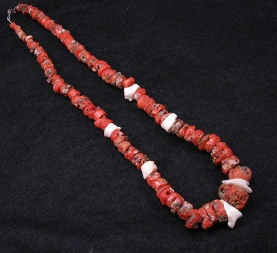 Vintage Native American Red & White Coral Necklace 22'' long