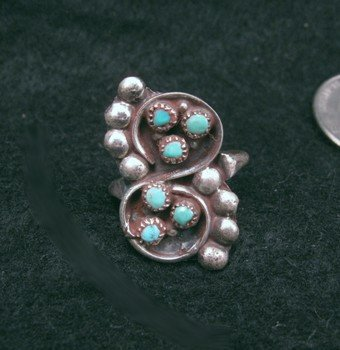Image 0 of Vintage Native American Turquoise Silver Ring sz6 sz7