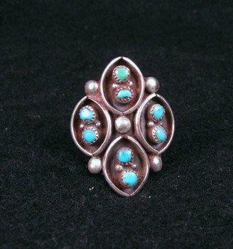Vintage Native American Turquoise Silver Ring sz6, sz6-1/2, sz7-1/2