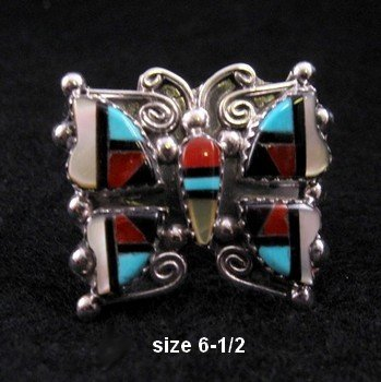 Cellicion Zuni Multi Inlay Butterfly Ring sz6-1/2