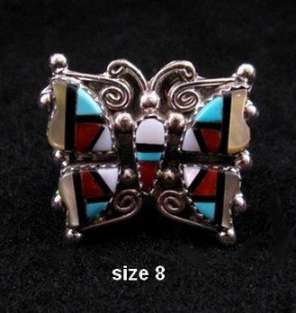 Image 1 of Cellicion Zuni Multi Inlay Butterfly Ring sz6-1/2