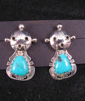 Nelson Morgan Navajo Turquoise Silver Mudhead Kachina Earrings