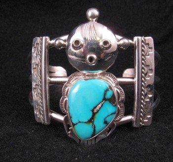 Nelson Morgan Navajo Turquoise Silver Mudhead Kachina Bracelet