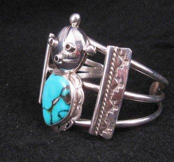 Image 1 of Nelson Morgan Navajo Turquoise Silver Mudhead Kachina Bracelet