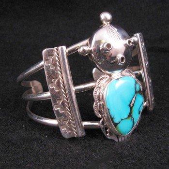 Image 2 of Nelson Morgan Navajo Turquoise Silver Mudhead Kachina Bracelet