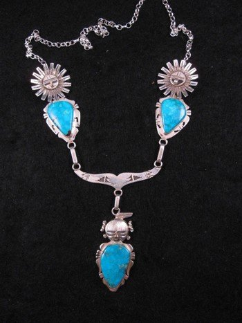 Kachina Turquoise Silver Necklace by Navajo, Nelson Morgan