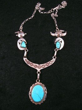 Nelson Morgan, Navajo, 4-piece Turquoise Kachina Silver Necklace