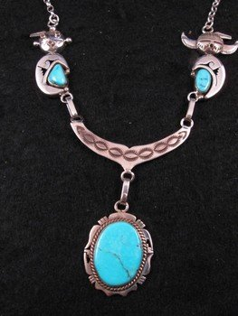 Image 1 of Nelson Morgan, Navajo, 4-piece Turquoise Kachina Silver Necklace