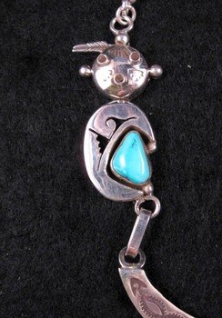Image 2 of Nelson Morgan, Navajo, 4-piece Turquoise Kachina Silver Necklace