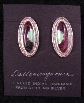 Hopi New Moon Inlay Earrings, Bennard & Frances Dallasvuyaoma