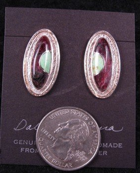Image 1 of Hopi New Moon Inlay Earrings, Bennard & Frances Dallasvuyaoma