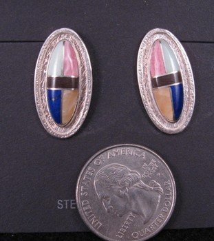 Image 0 of Hopi Inlay Winter/Summer Solstice Earrings, Bennard Dallasvuyaoma
