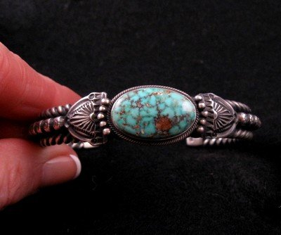 Navajo Turquoise Silver Cuff Bracelet, Darryl Becenti