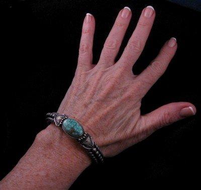 Image 1 of Navajo Turquoise Silver Cuff Bracelet, Darryl Becenti