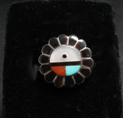 Vintage Native American Zuni Inlaid Sunface Ring Sz7-1/2