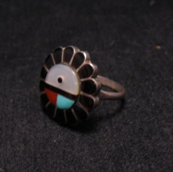 Image 1 of Vintage Native American Zuni Inlaid Sunface Ring Sz7-1/2