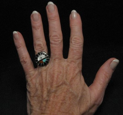Image 2 of Vintage Native American Zuni Inlaid Sunface Ring Sz7-1/2