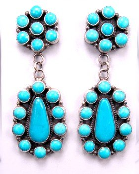Image 0 of Huge Navajo 2-Pc Turquoise Cluster Silver Earrings, Dean Brown
