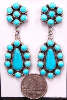 Image 1 of Huge Navajo 2-Pc Turquoise Cluster Silver Earrings, Dean Brown