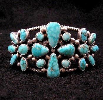Navajo Turquoise Silver Cluster Bracelet, Verdy Jake