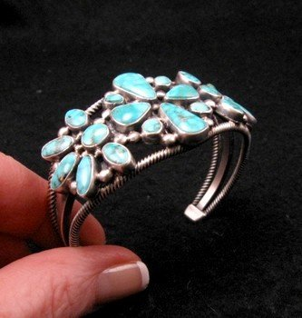 Image 1 of Navajo Turquoise Silver Cluster Bracelet, Verdy Jake
