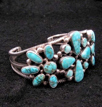 Image 2 of Navajo Turquoise Silver Cluster Bracelet, Verdy Jake