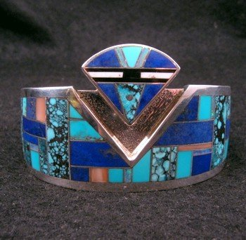 Fancy Navajo Turquoise Lapis Inlay Silver Bracelet, Charlie Willie