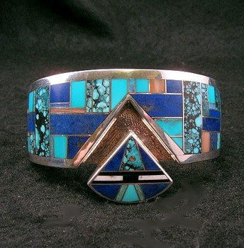Image 1 of Fancy Navajo Turquoise Lapis Inlay Silver Bracelet, Charlie Willie