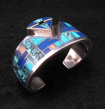 Image 2 of Fancy Navajo Turquoise Lapis Inlay Silver Bracelet, Charlie Willie