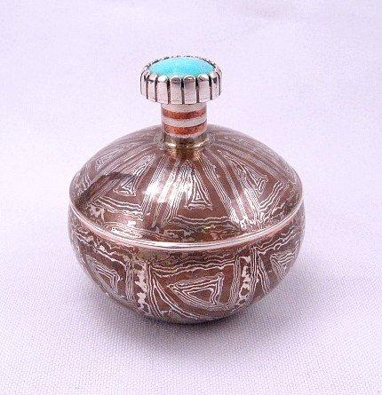 Shane Hendren ~ Navajo ~ Mokume Gane Silver Turquoise Seed Pot