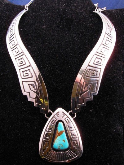Image 2 of Everett & Mary Teller Navajo Number 8 Turquoise Silver Necklace