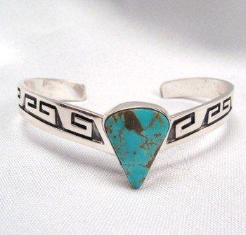Image 0 of Everett & Mary Teller, Navajo Silver Overlay Number 8 Turquoise Bracelet