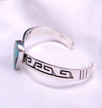 Image 1 of Everett & Mary Teller, Navajo Silver Overlay Number 8 Turquoise Bracelet
