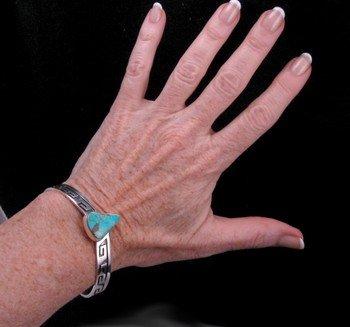 Image 2 of Everett & Mary Teller, Navajo Silver Overlay Number 8 Turquoise Bracelet