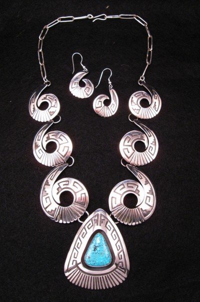 Navajo ~ Everett & Mary Teller ~ Turquoise Shadowbox Silver Swirl Necklace