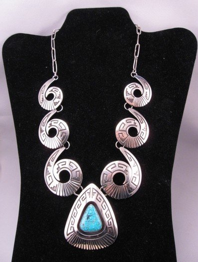 Image 1 of Navajo ~ Everett & Mary Teller ~ Turquoise Shadowbox Silver Swirl Necklace