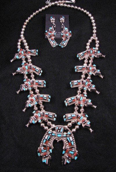 Zuni Inlay Rainbow Man Yei Necklace & Earrings, Herbert & Esther Cellicion