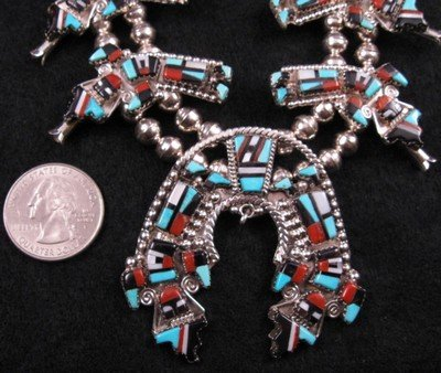 Image 1 of Zuni Inlay Rainbow Man Yei Necklace & Earrings, Herbert & Esther Cellicion