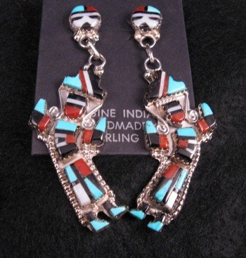 Image 2 of Zuni Inlay Rainbow Man Yei Necklace & Earrings, Herbert & Esther Cellicion