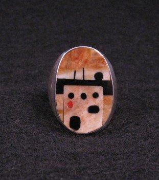 Zuni * Gilbert Calavaza * Pueblo Inlay Silver Ring, Sz10