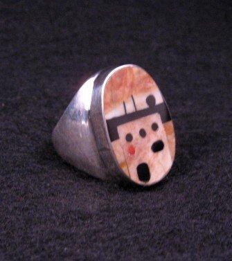 Image 1 of Zuni * Gilbert Calavaza * Pueblo Inlay Silver Ring, Sz10