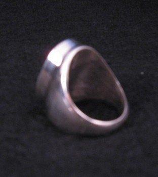 Image 2 of Zuni * Gilbert Calavaza * Pueblo Inlay Silver Ring, Sz10