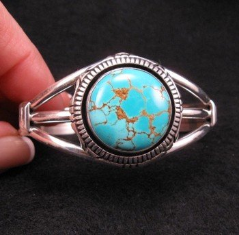Navajo Native American Number 8 Turquoise Silver Bracelet